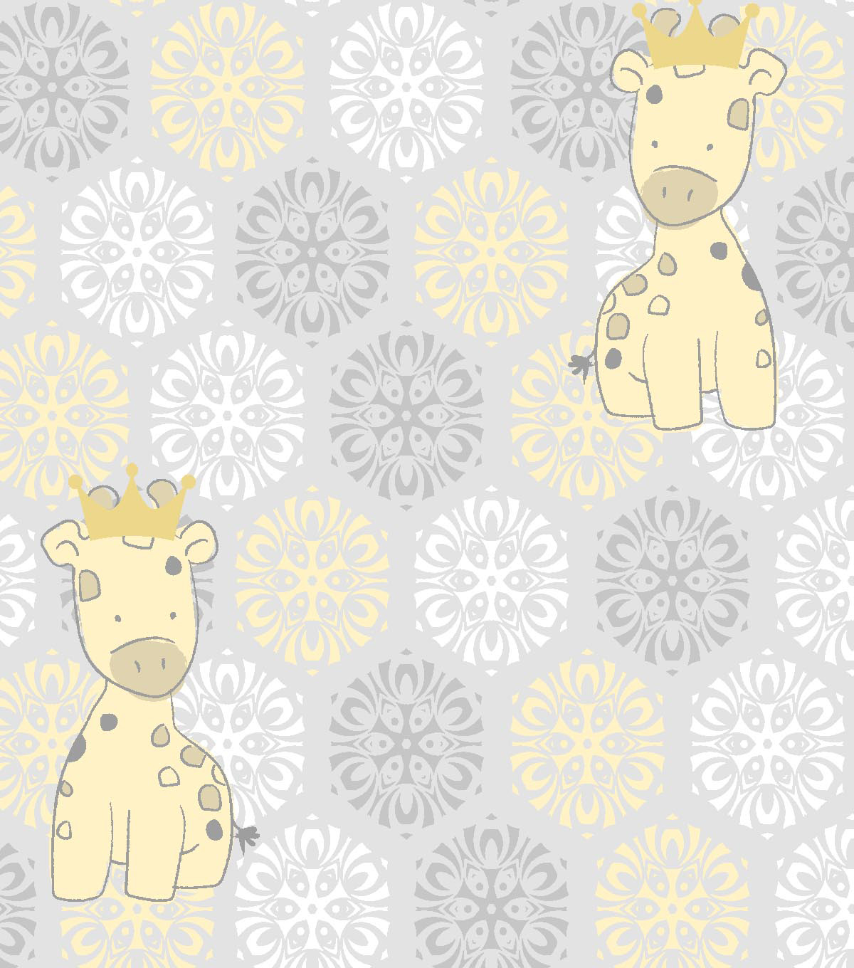 Nursery Royal Cotton Fabric 43\u0027\u0027-Giraffe & Medallion