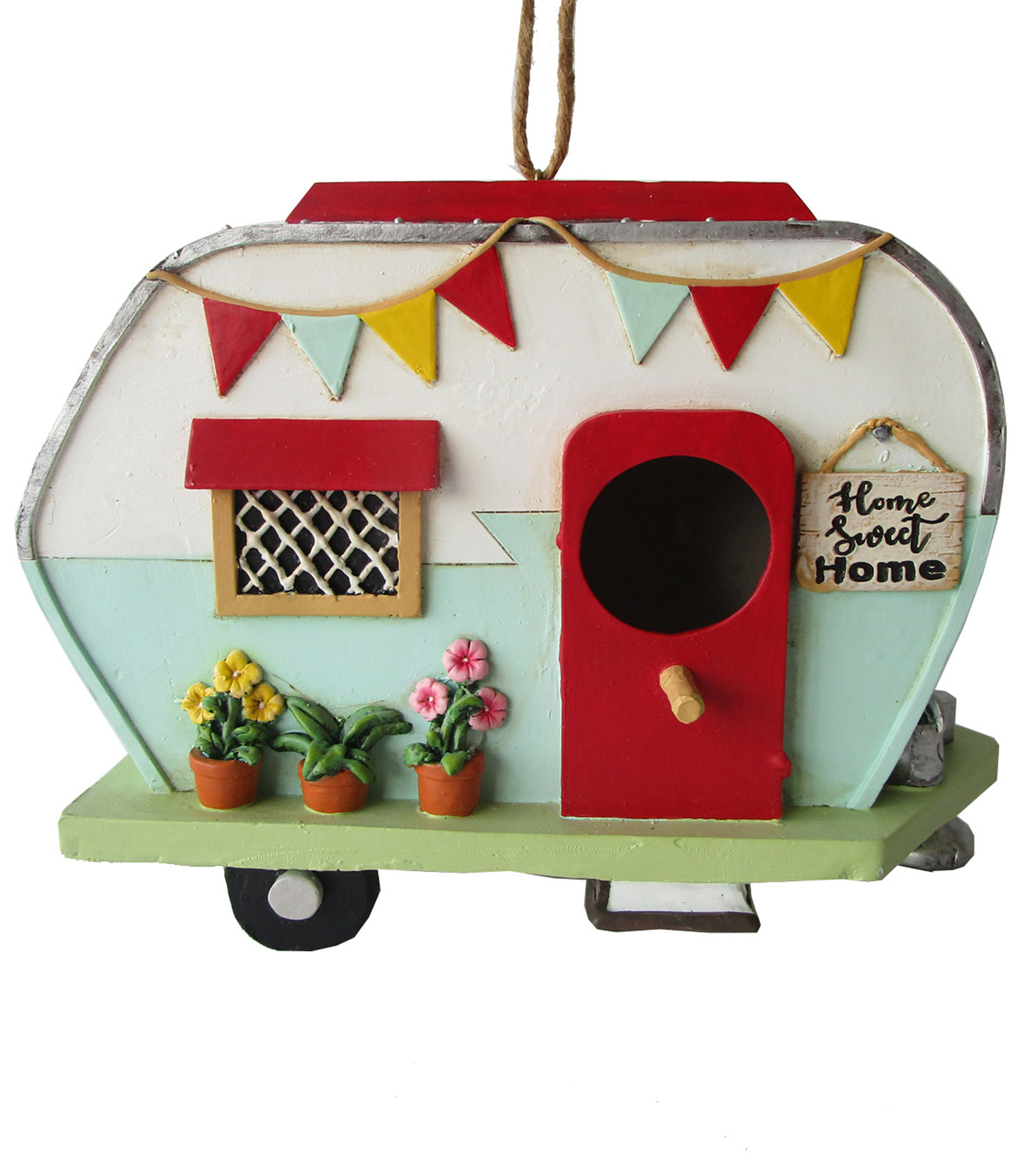 In the Garden Camper Bird House with Red Door-Home Sweet Home