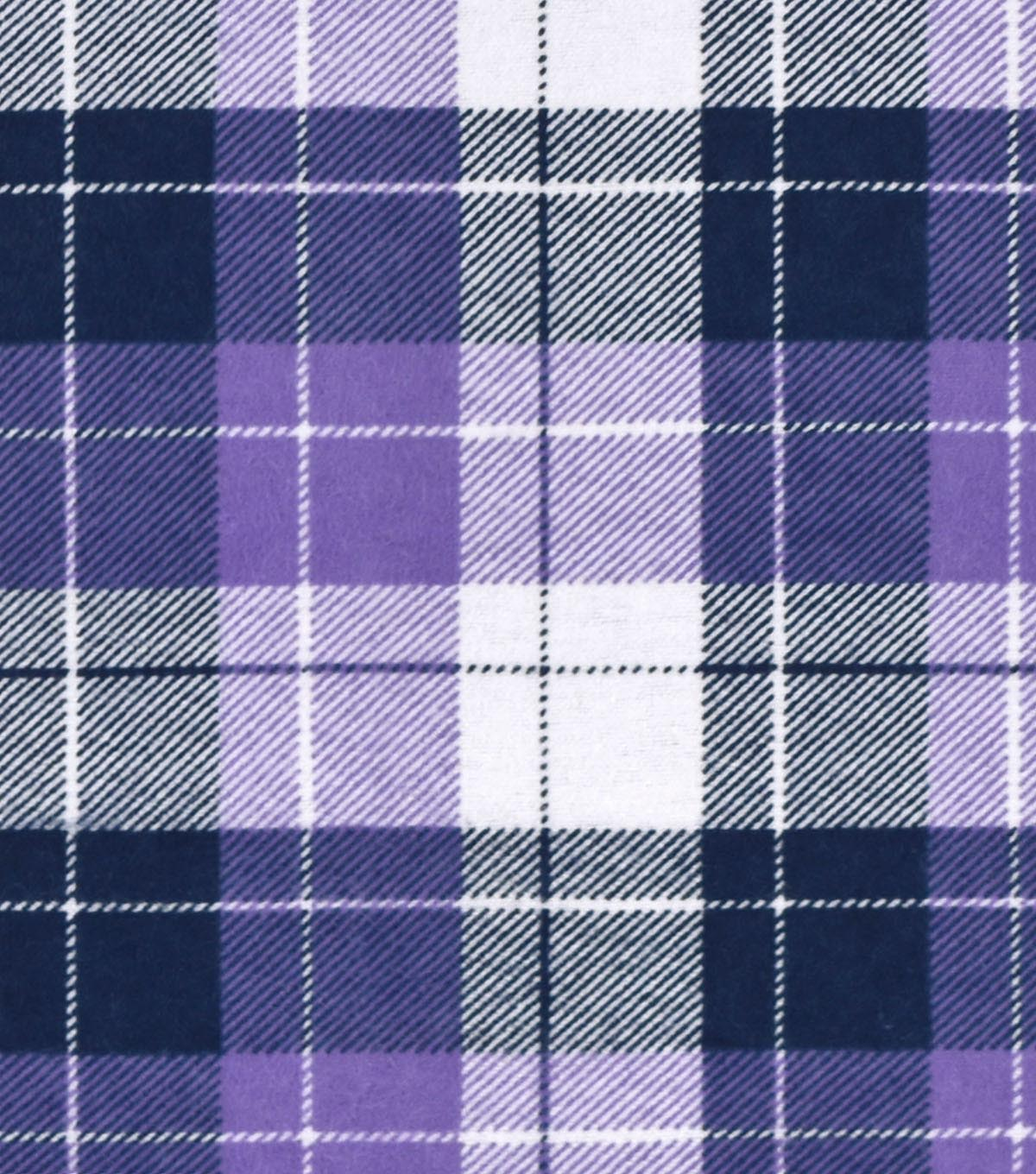 Snuggle Flannel Fabric -Purple Plaid