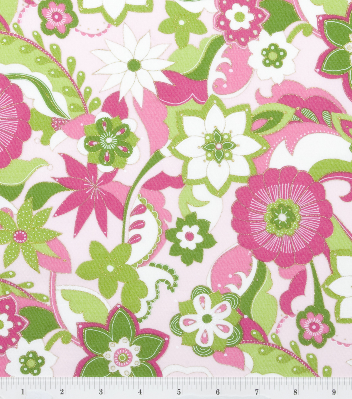 Keepsake Calico™ Cotton Fabric-Pucci Floral pink green with Metallic Thread Accent