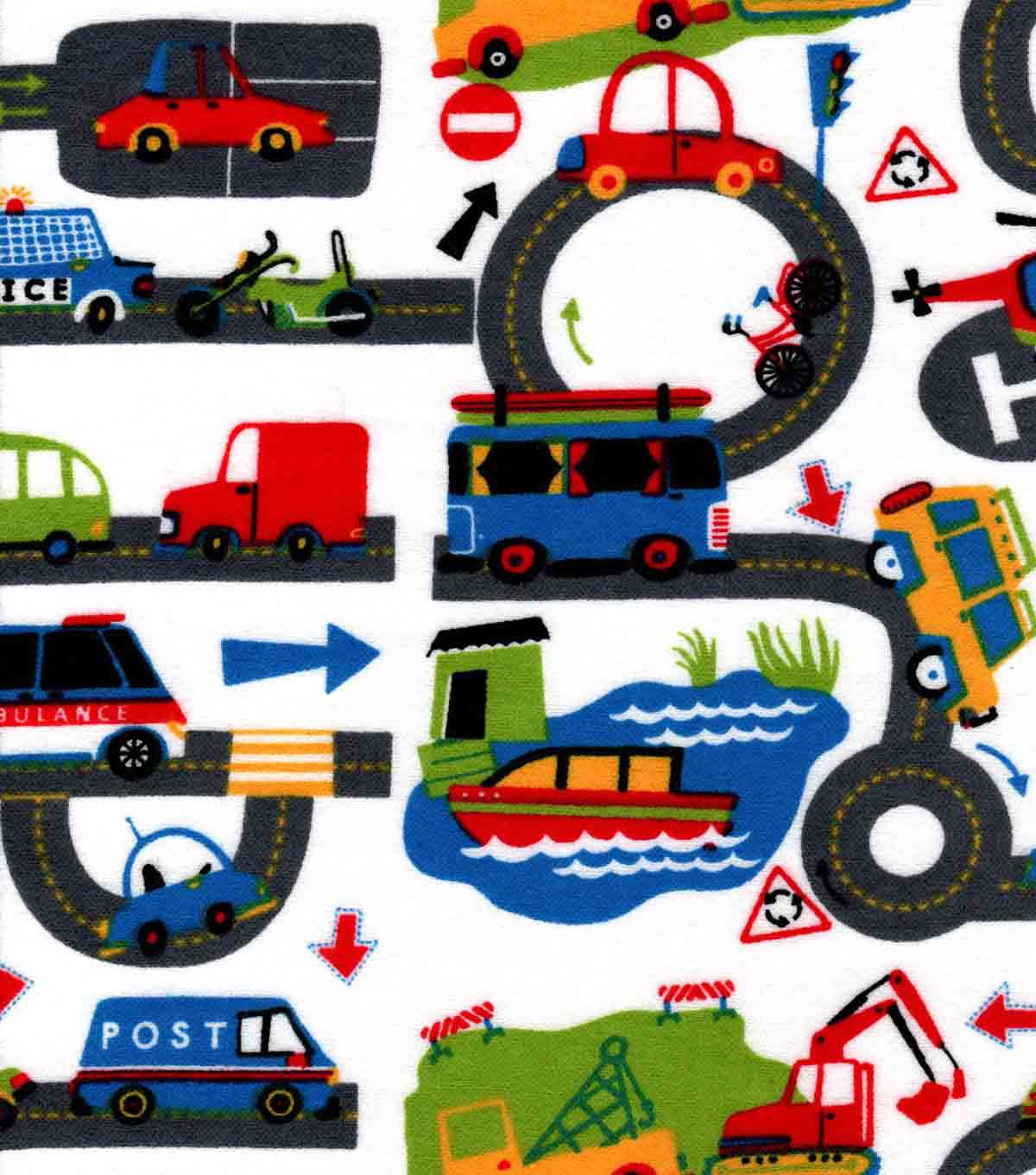 Snuggle Flannel Fabric -Transportation Roadway