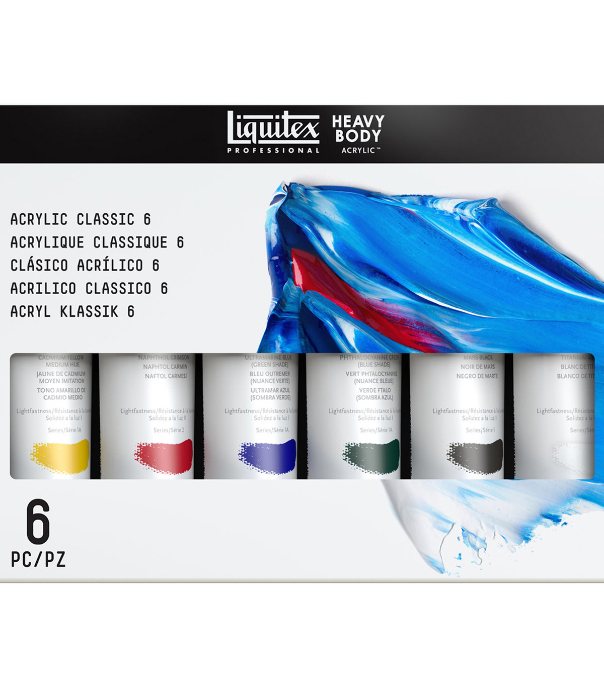 Liquitex Heavy Body Acrylic Paint 59ml 6 Pack-Classic 6