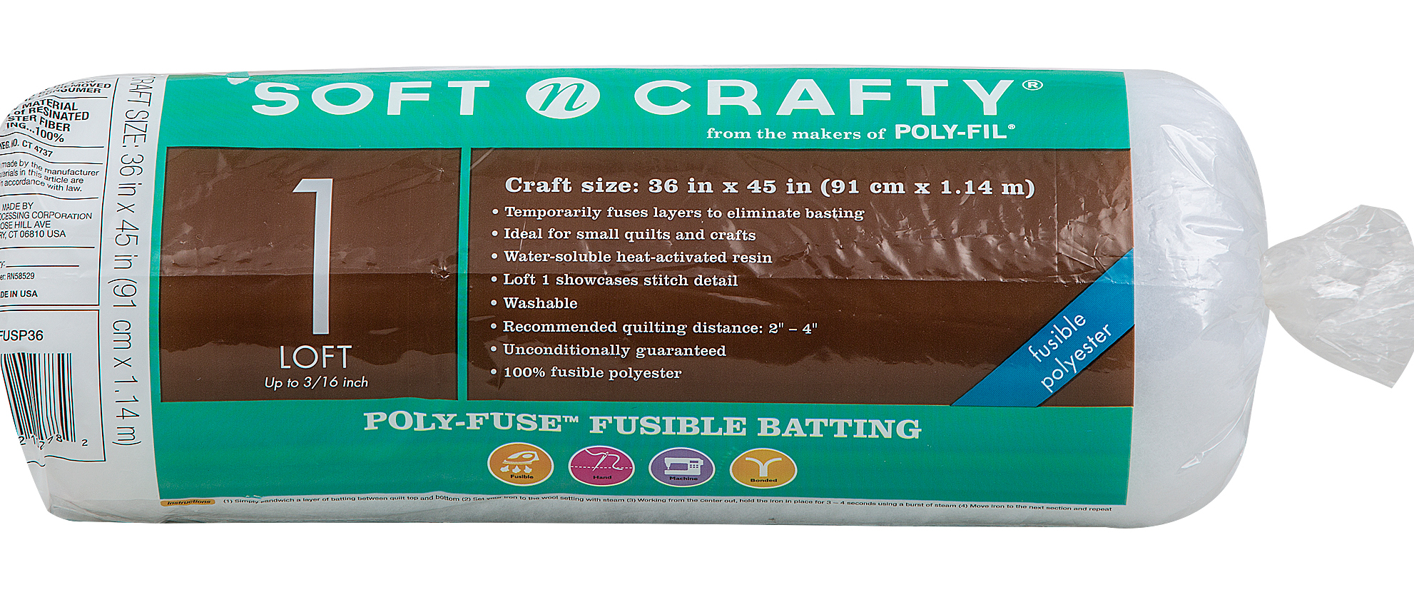 Fairfield Soft N Crafty Poly-Fuse Batting 36\u0022x45\u0022