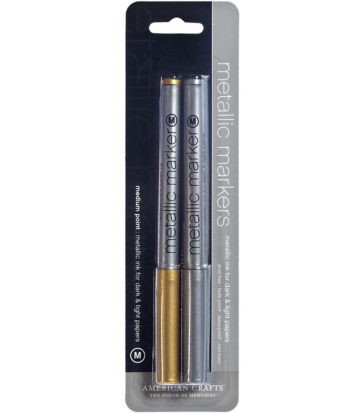 American Crafts Metallic Markers Medium Point 2/Pkg-Gold & Silver
