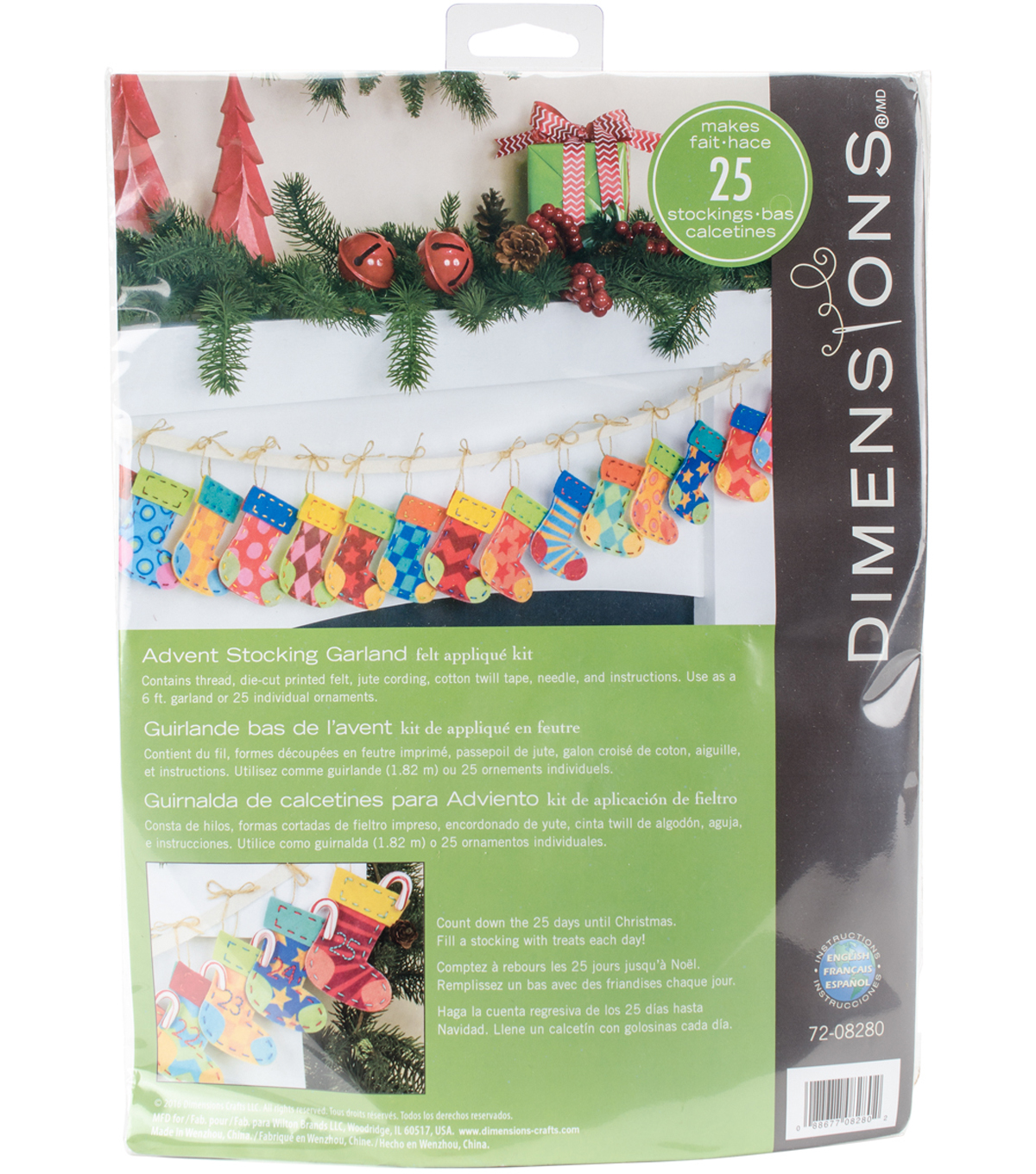 Dimensions 72\u0027\u0027 Advent Stocking Felt Garland Applique Kit