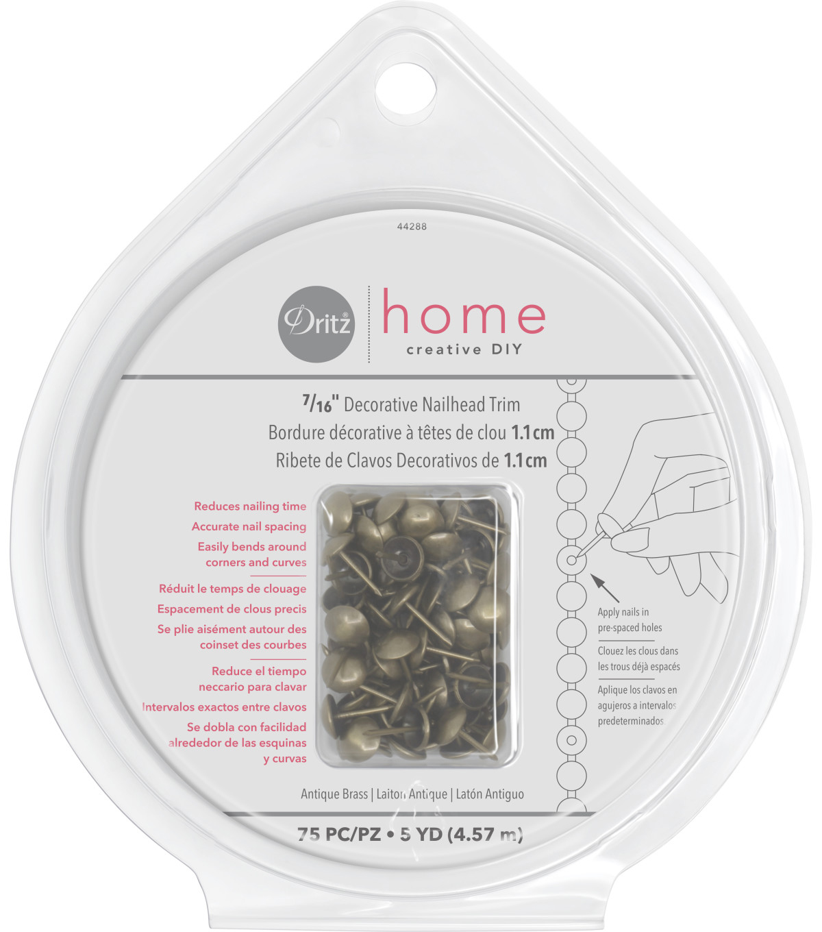 Dritz Home 0.44\u0027\u0027 Wide x 5Yds Nailhead Trim Antique Gold
