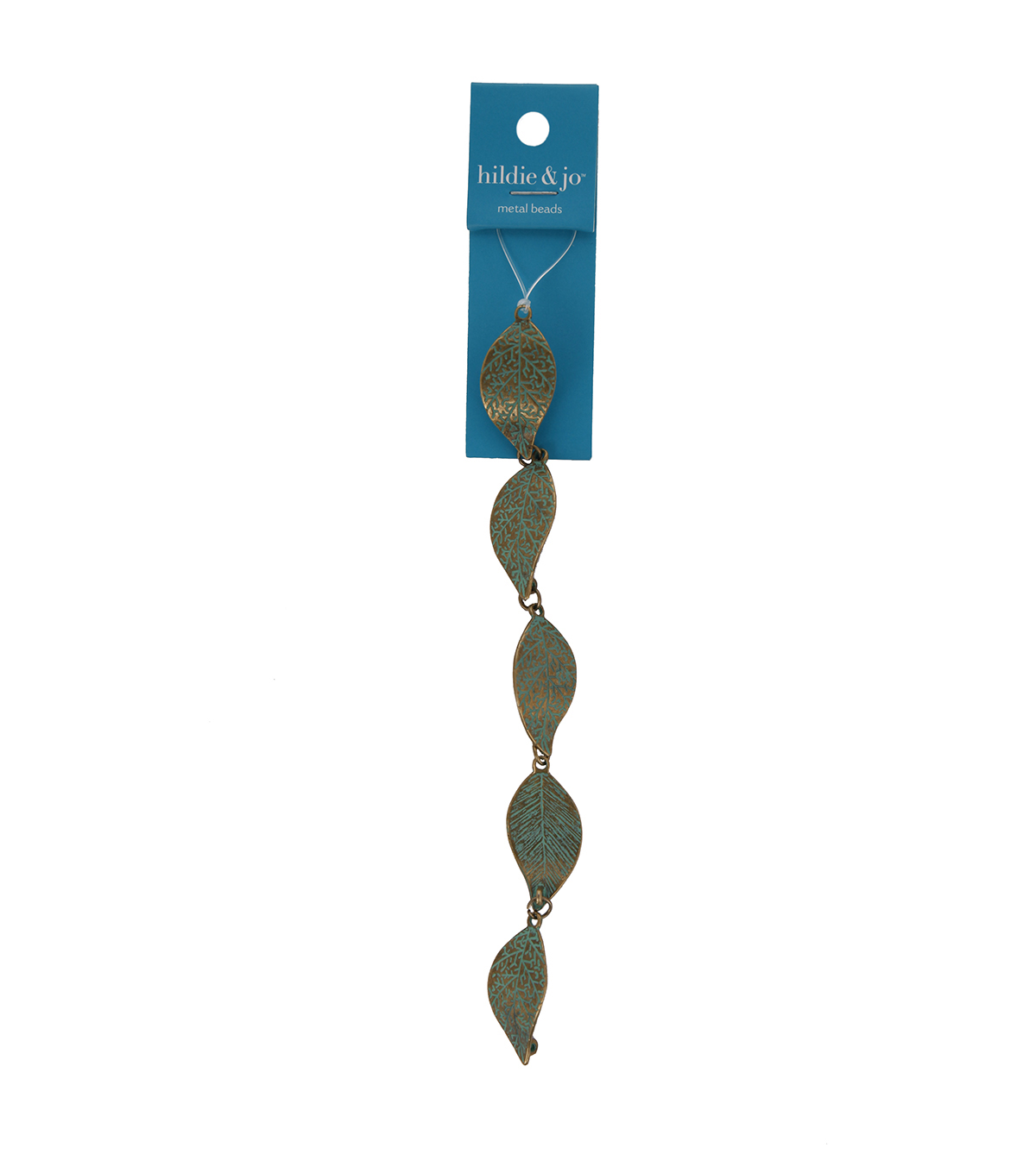 Blue Moon Bead Strands Patina Metal Large Leaf