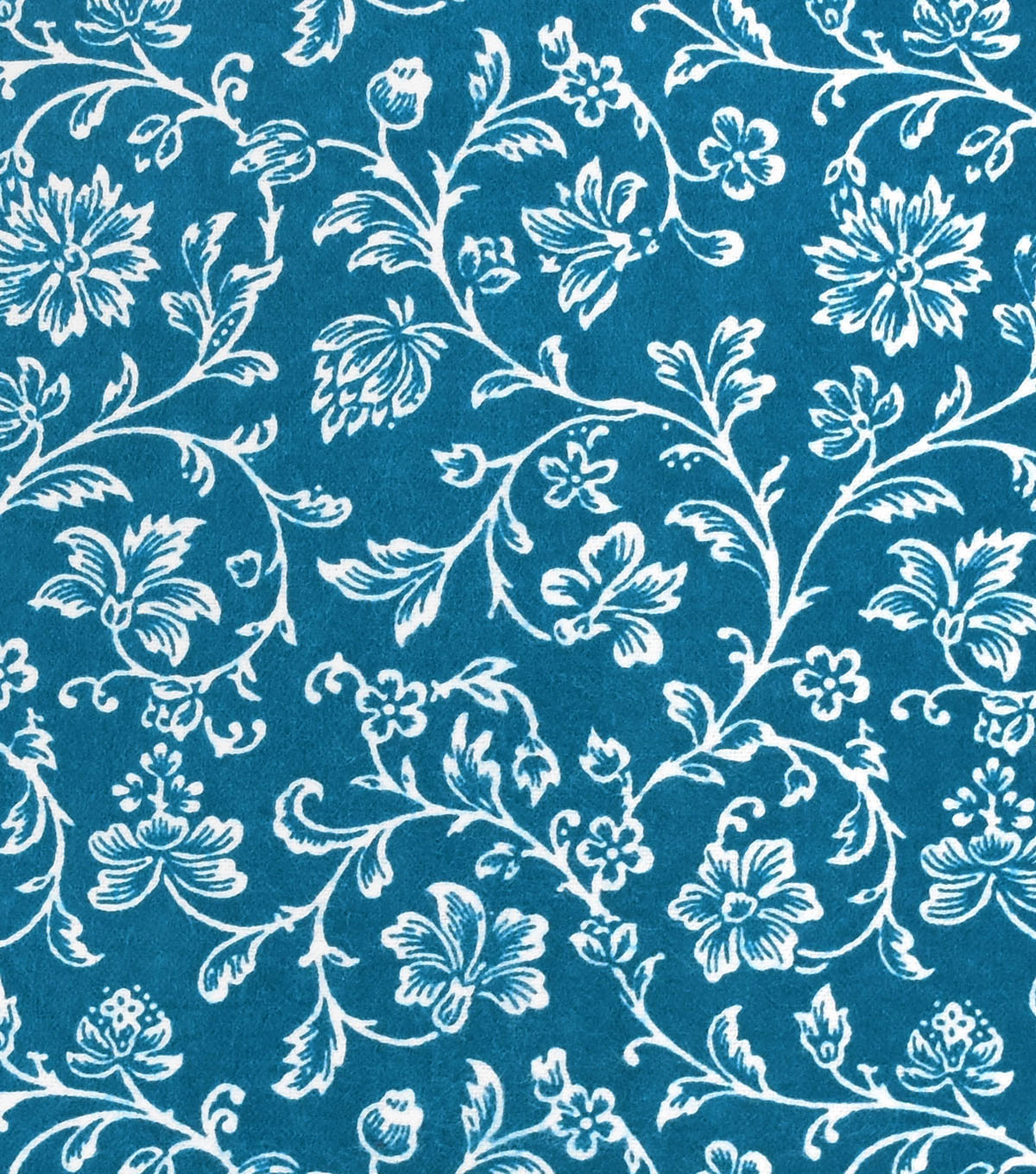 Snuggle Flannel Fabric -Aqua Floral Vines