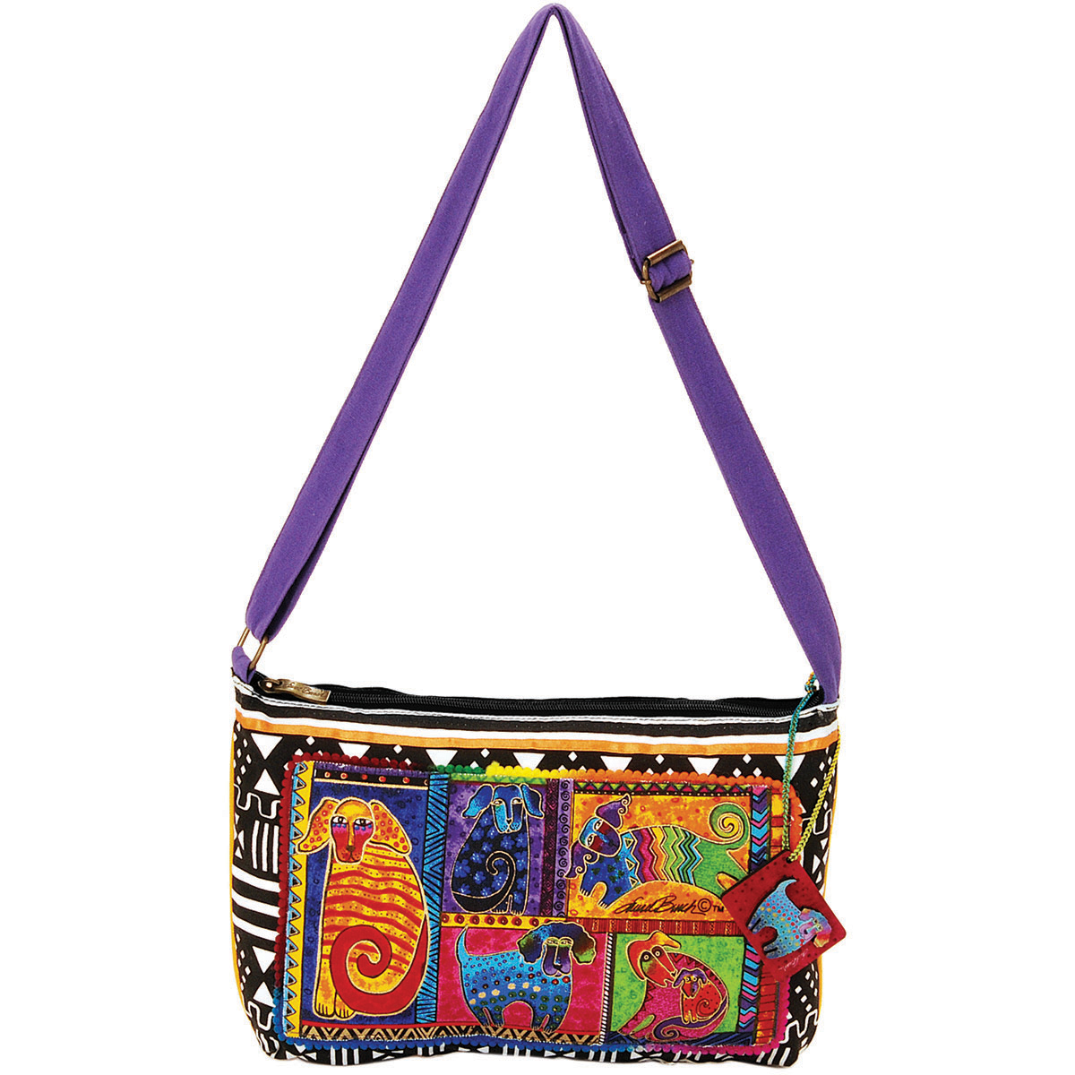 Laurel Burch Medium Crossbody Zipper Top 15\u0022x10\u0022-Dog Tails Patchwork