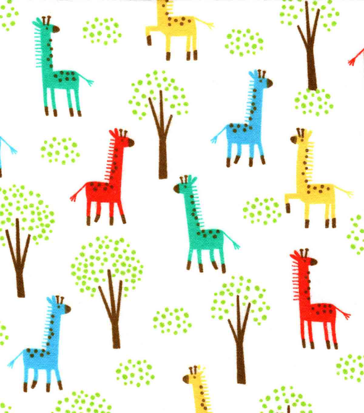 Snuggle Flannel Fabric -Colorful Giraffes