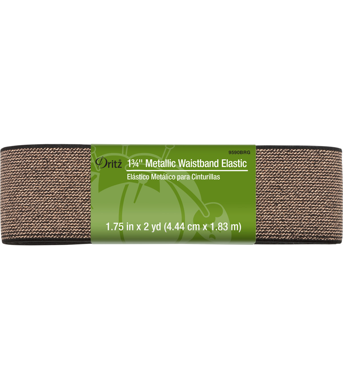 Dritz 1-3/4\u0022 Metallic Waistband Elastic-Black Rose