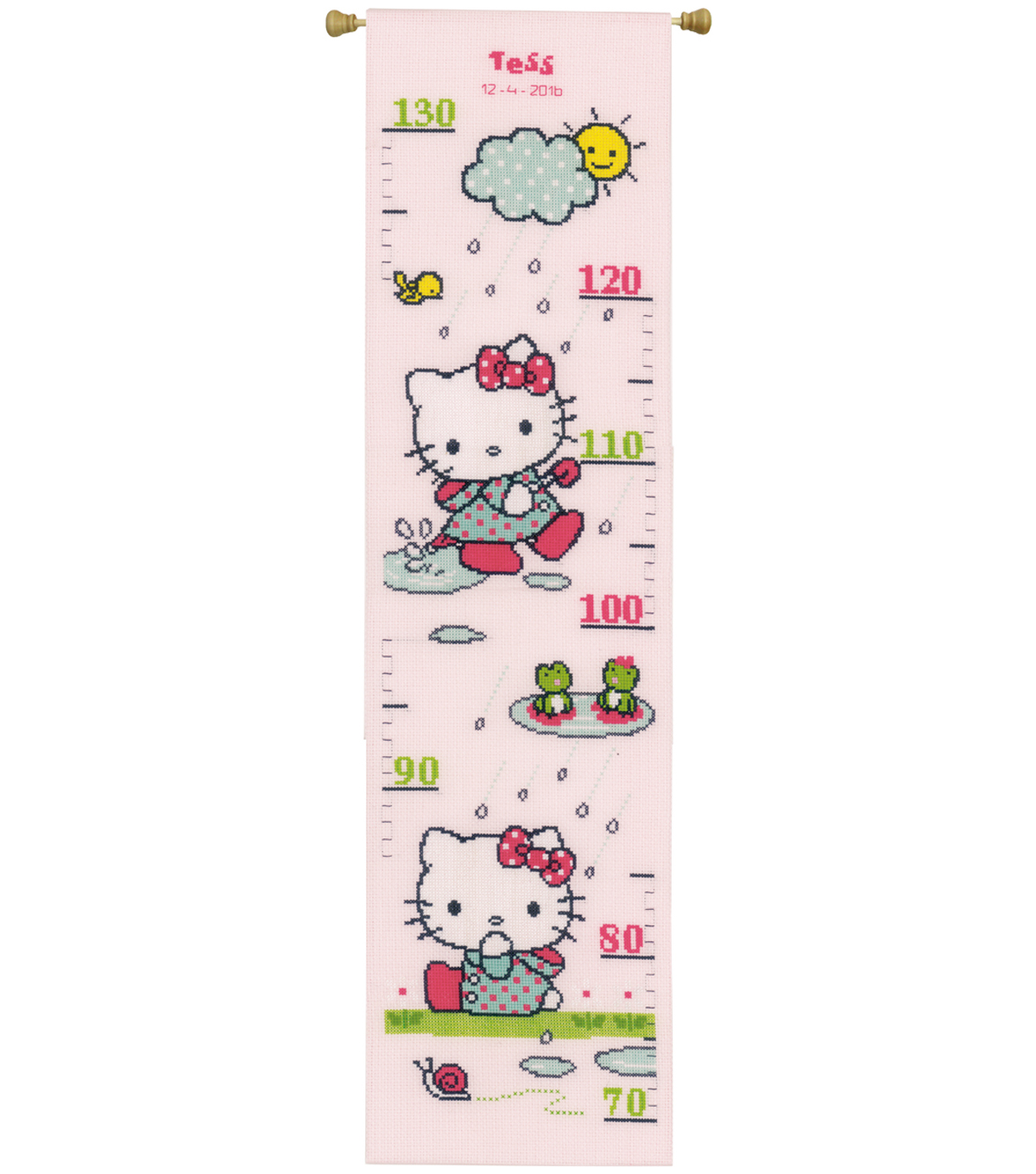 Vervaco Counted Cross Stitch Kit-Hello Kitty Rainy Days Growth Chart