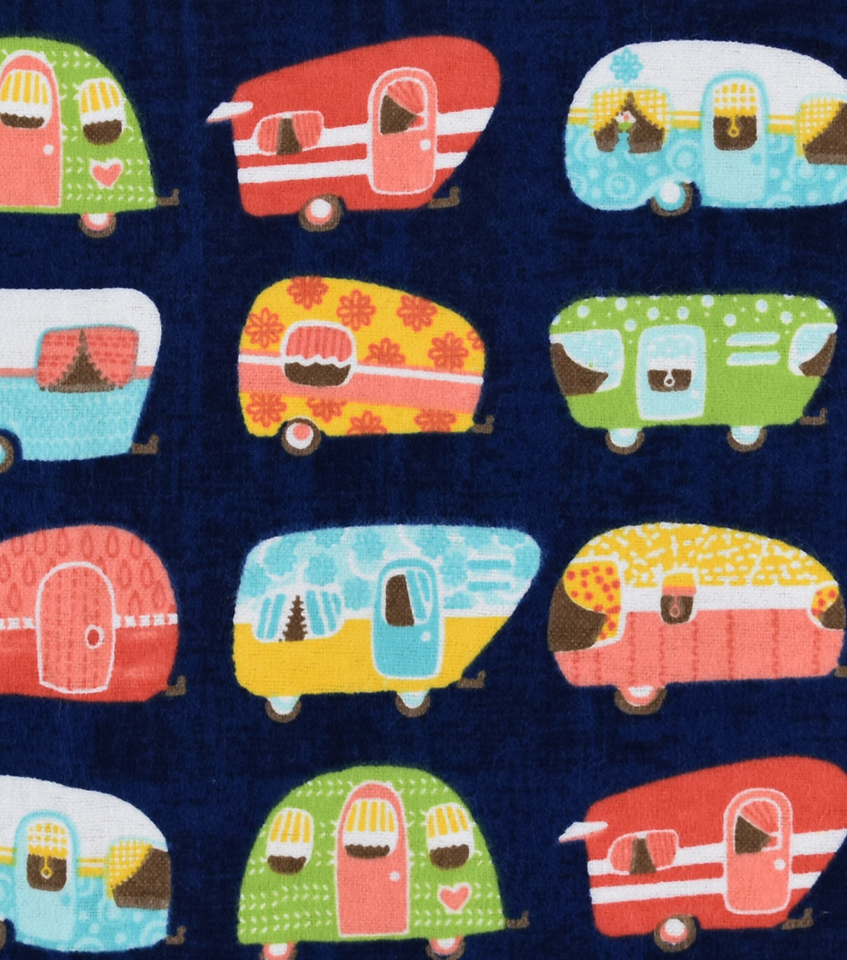 Snuggle Flannel Fabric -Linear Campers