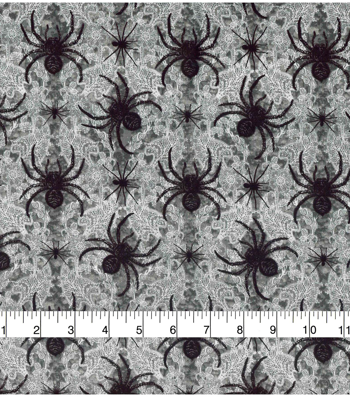 Halloween Cotton Fabric 43\u0022-Black Widow Lace