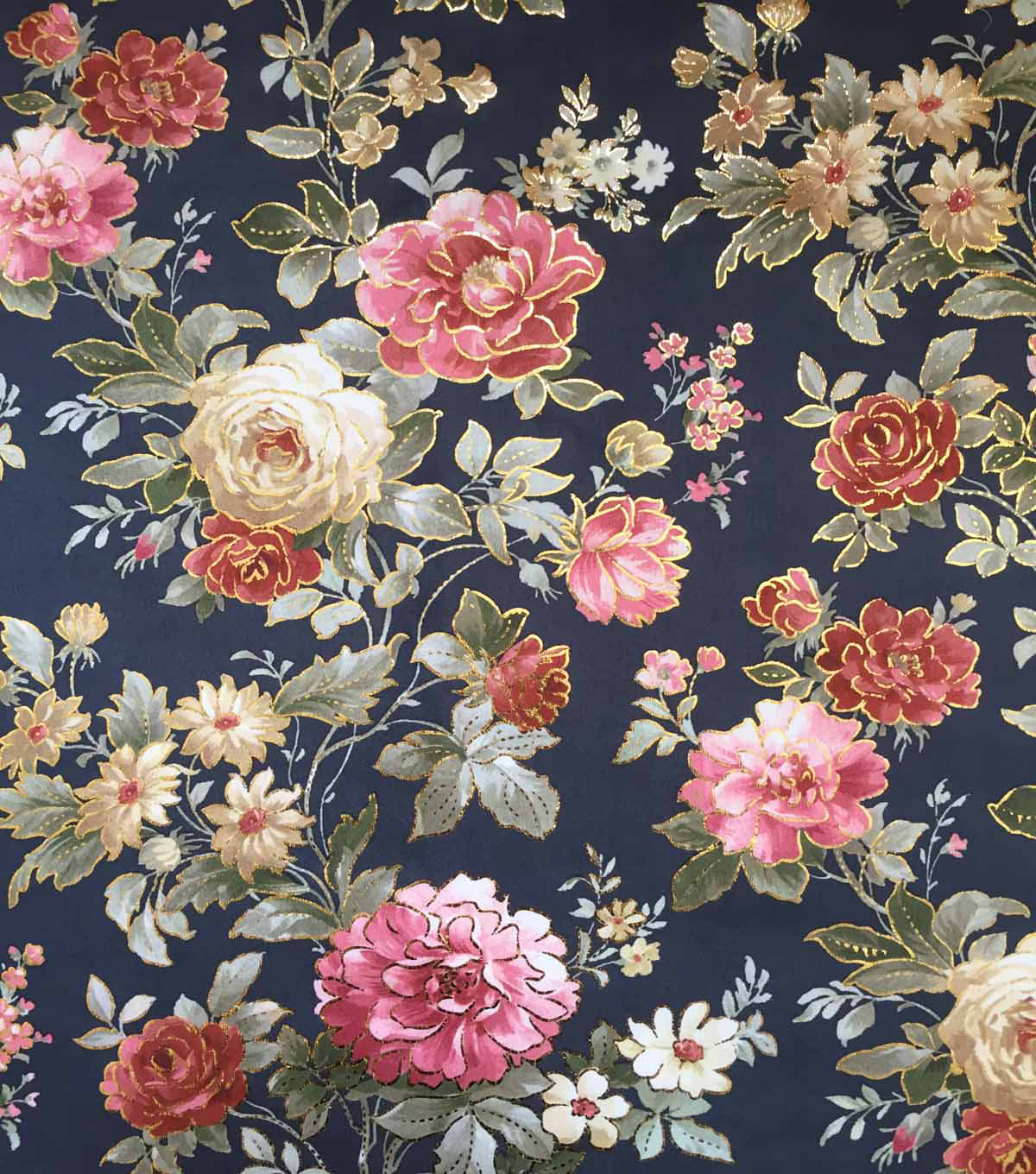 Scuba Knit Fabric 57\u0022-Navy Rose Floral Foiled
