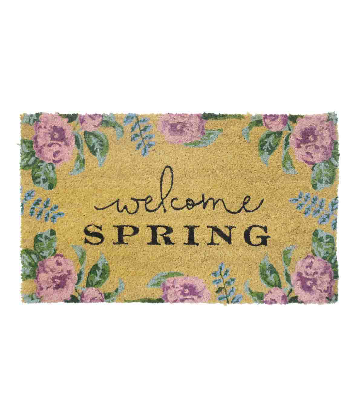 In the Garden Tufted Coir Mat-Welcome Spring & Floral on Natural