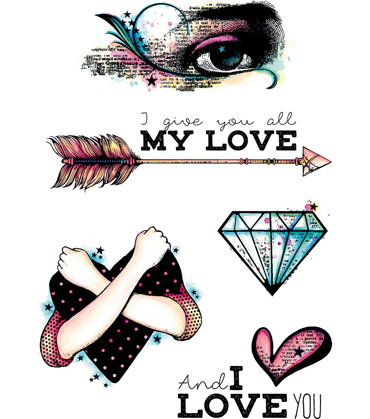 Carabelle Studio 5 pk A6 Cling Stamps-I Give You All My Love