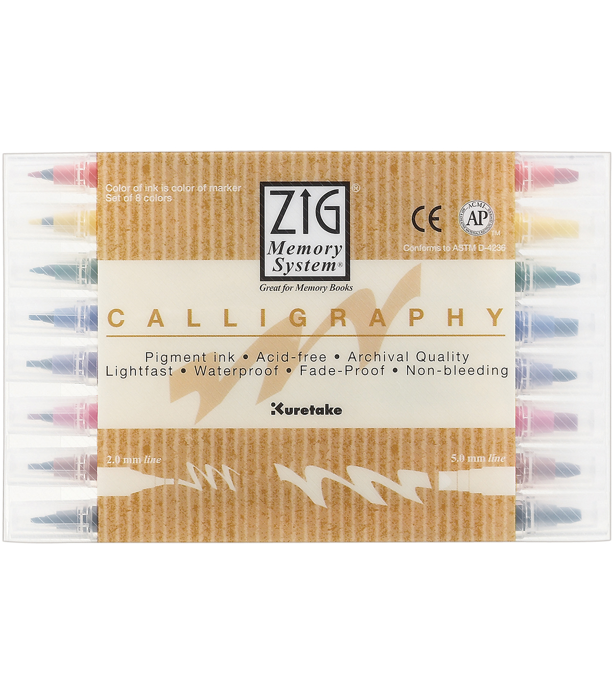 Zig Memory Calligraphy Dual-Tip Markers-8PK