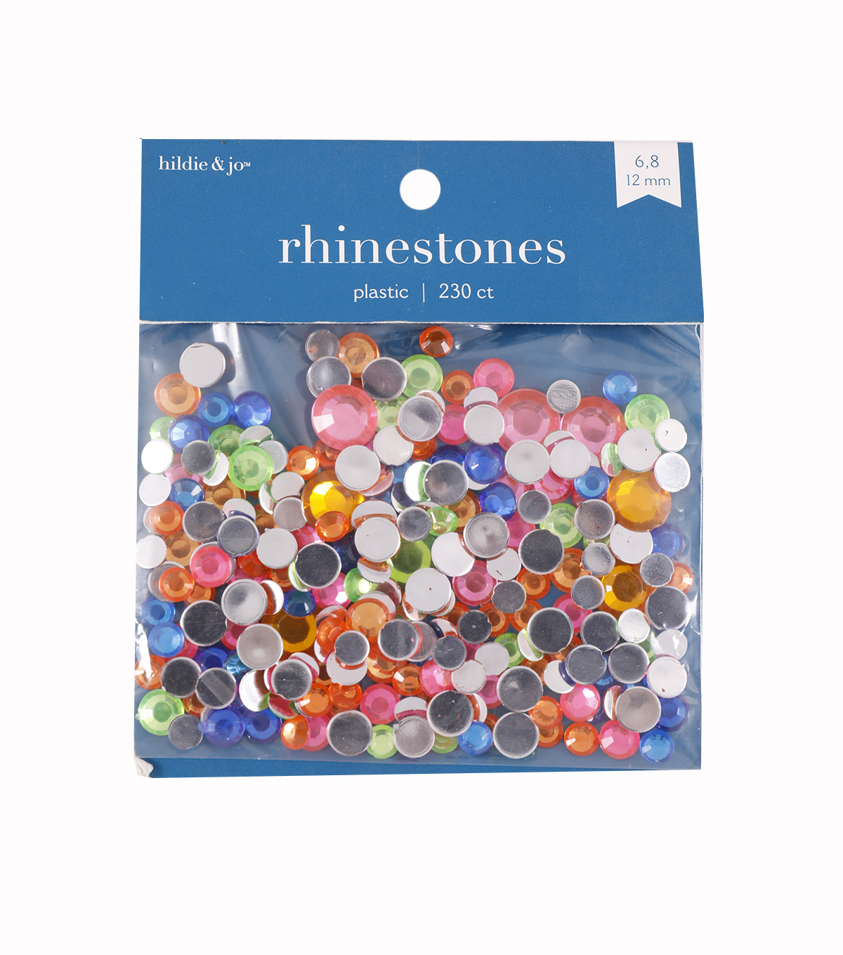 Round Acrylic Rhinestones, Assorted Neon Colors, 22gr.
