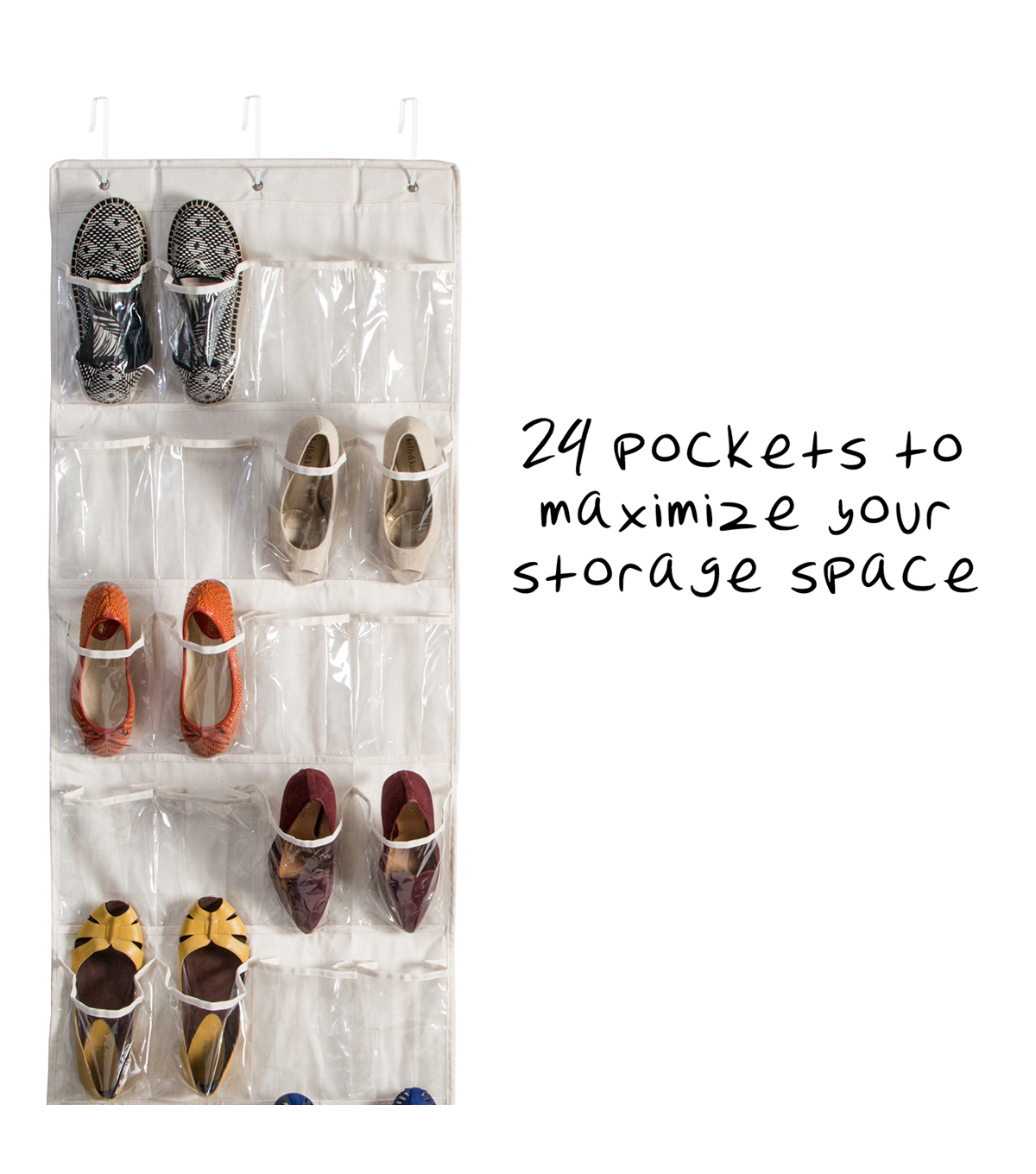 Honey Can Do 24 Pocket Over the Door Shoe Organizer-Natural