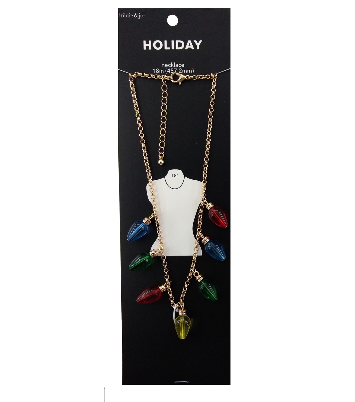 hildie & jo Holiday Necklace-Multi Color Christmas Lights