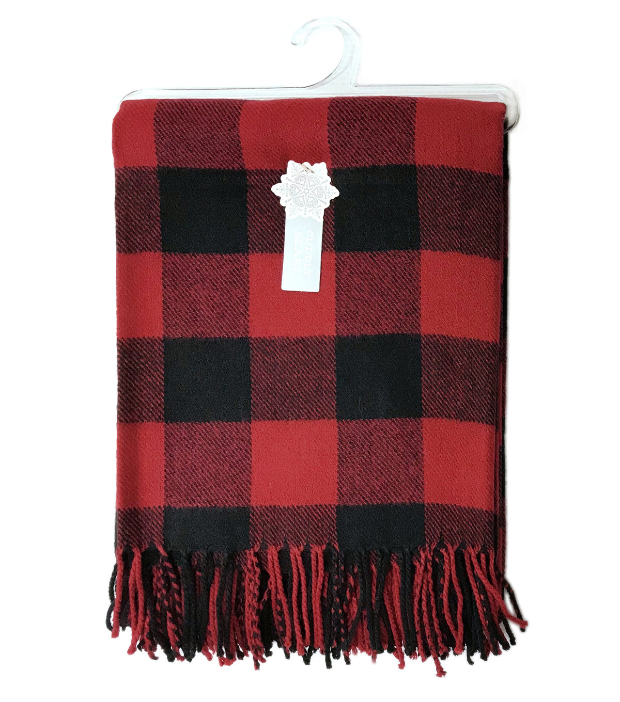 348398668 Christmas Cuddly Blanket Scarf-Red & Black Buffalo Checks | JOANN