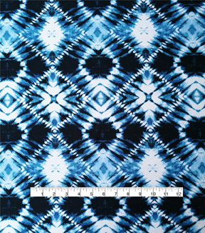 Stretch Chiffon Fabric 57\u0027\u0027-Navy Diamond Tie Dye