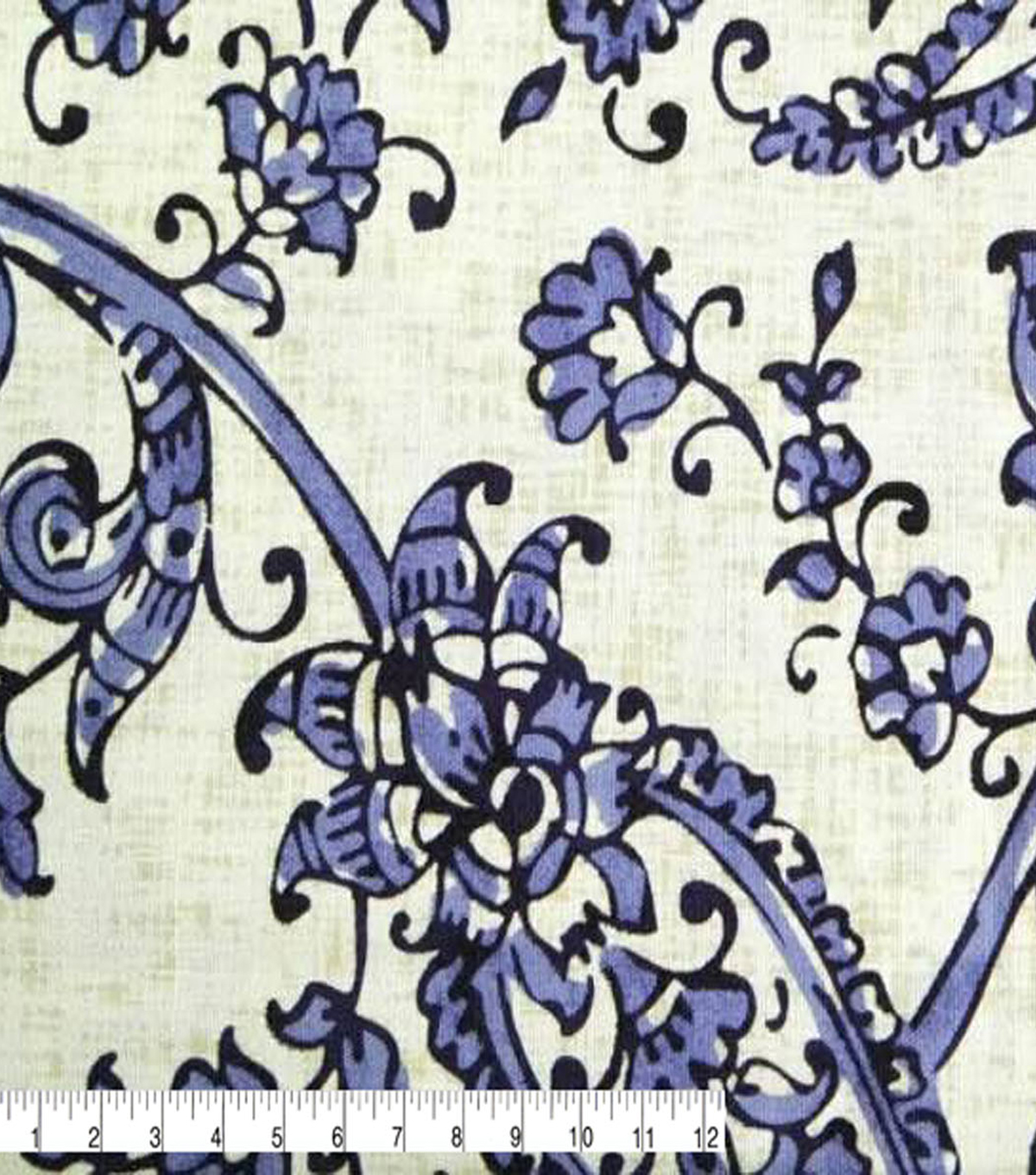 Amaretto Linen Fabric -Blue Floral on White