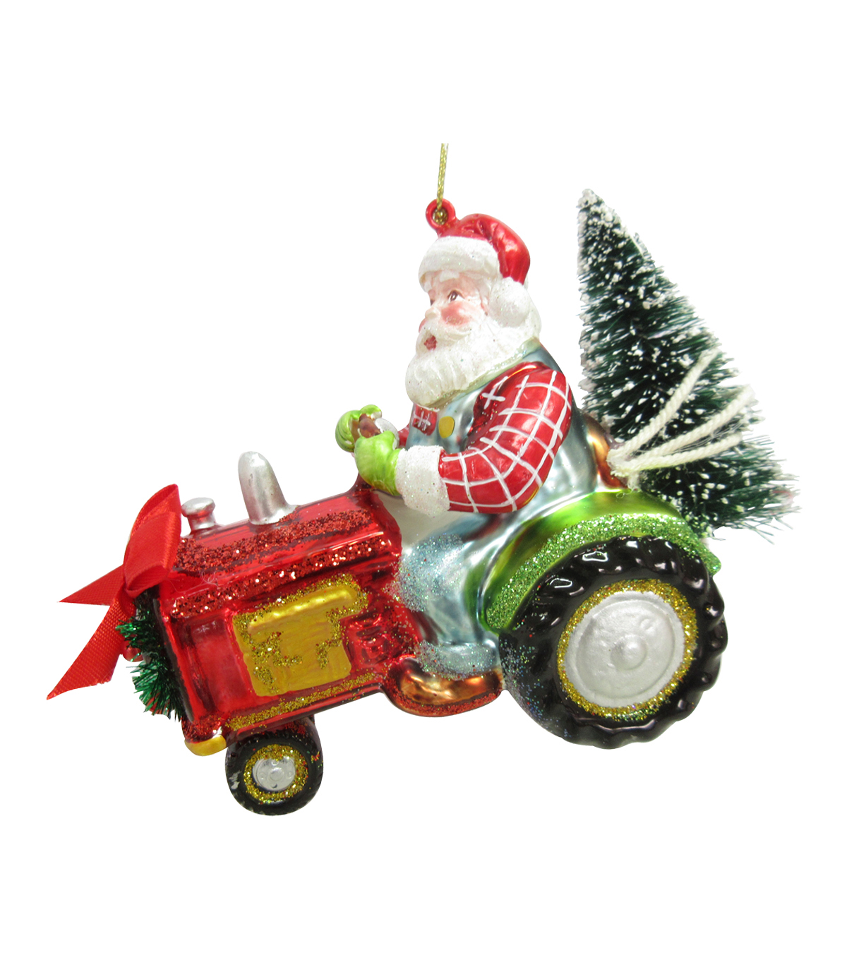 Maker\u0027s Holiday Christmas Santa on Tractor Ornament