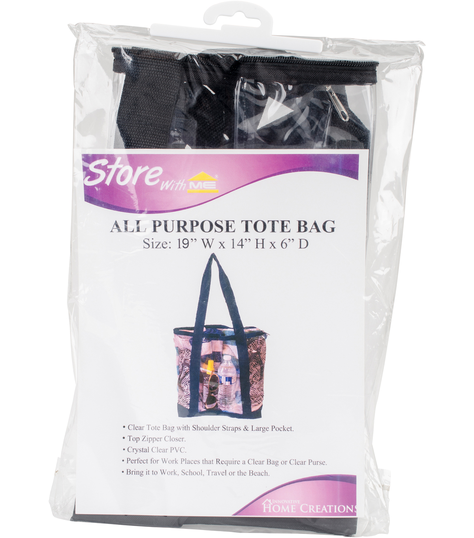 68e97954f857 All-Purpose Clear Tote Bag 19 u0022X14 u0022X6 u0022-Black