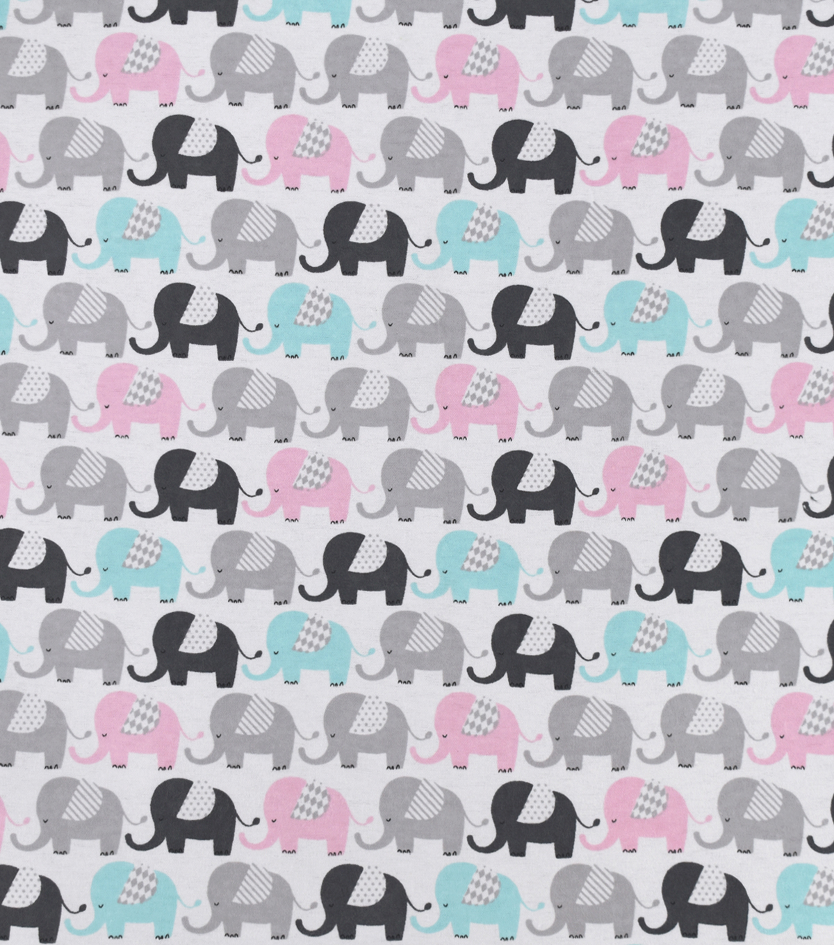 Snuggle Flannel Fabric-Baby Elephants Marching