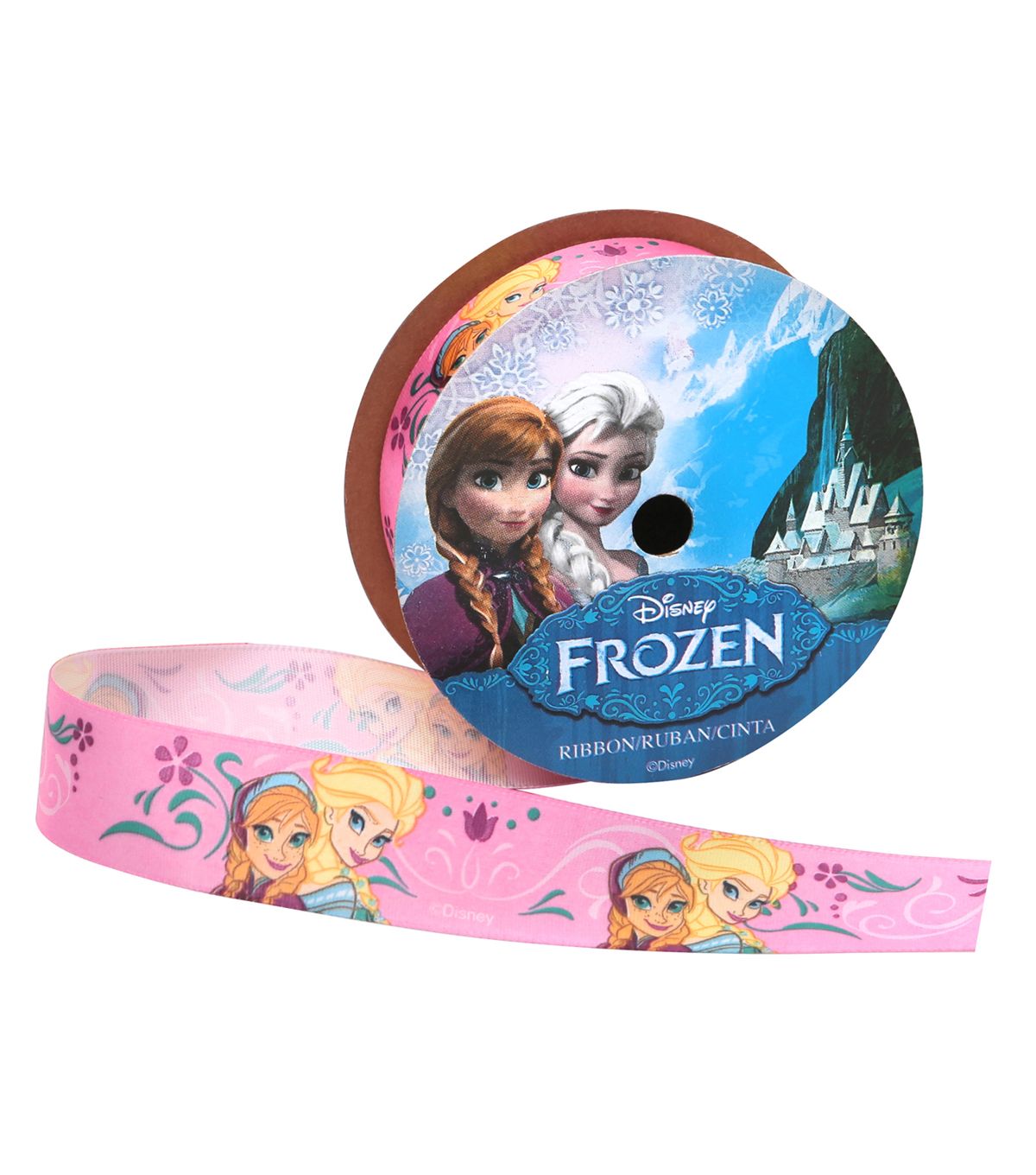 Offray 7/8\u0022x9\u0027 Frozen Anna and Elsa Character Single Faced Satin Ribbon-Pink