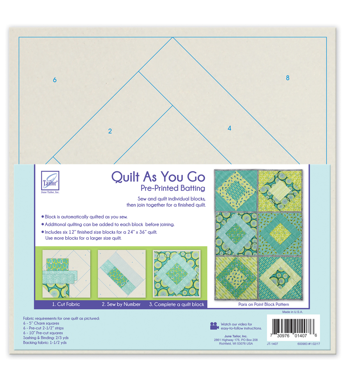 June Tailor Quilt As You Go Batting-Paris On Point