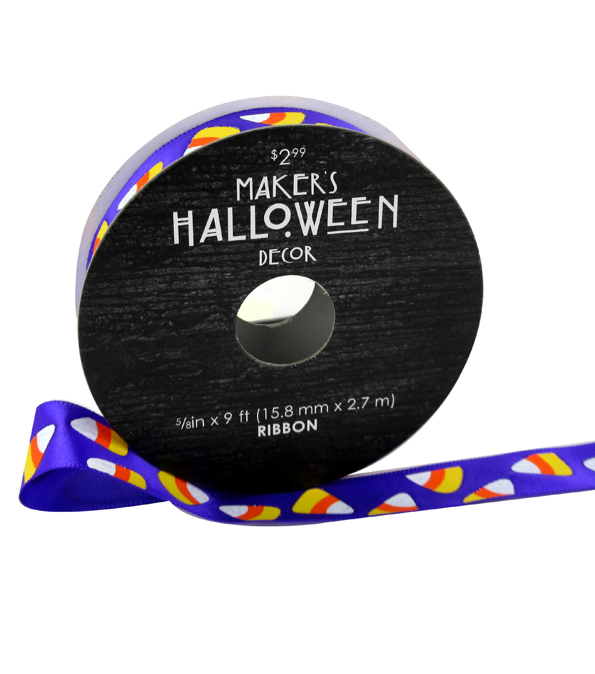 Maker\u0027s Halloween Ribbon 5/8\u0027\u0027x9\u0027-Candy Corns on Purple
