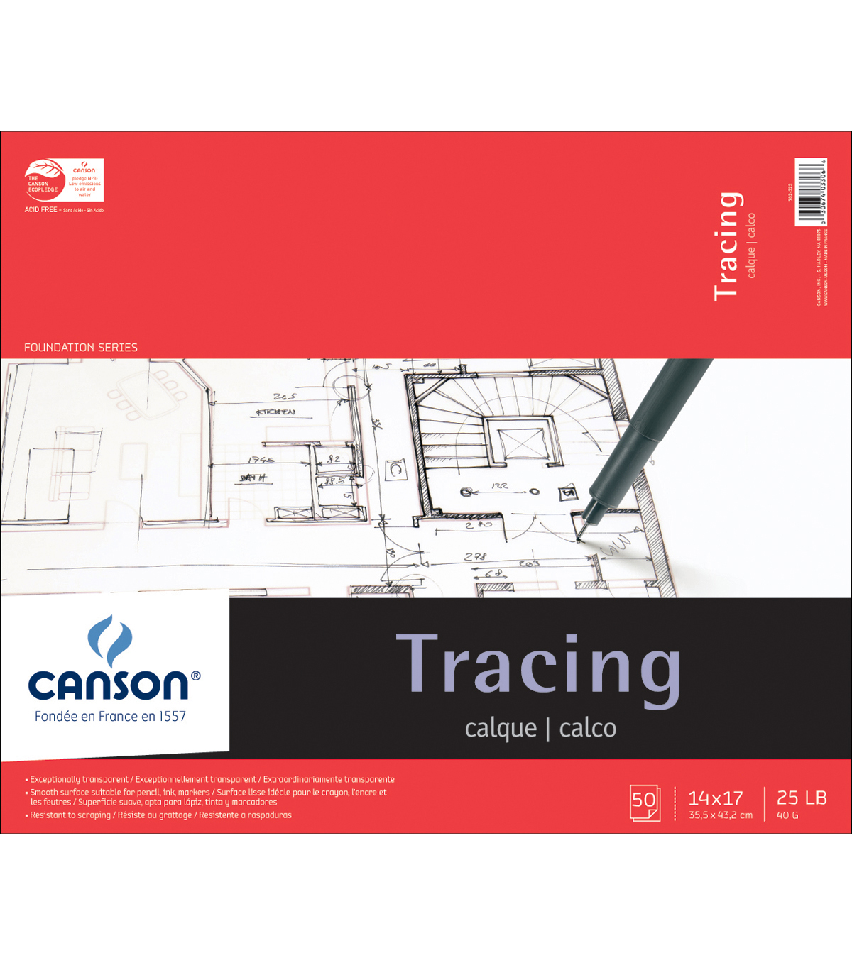 Canson Foundation Series Tracing Paper Pad 14\u0022X17\u0022-50 sheets