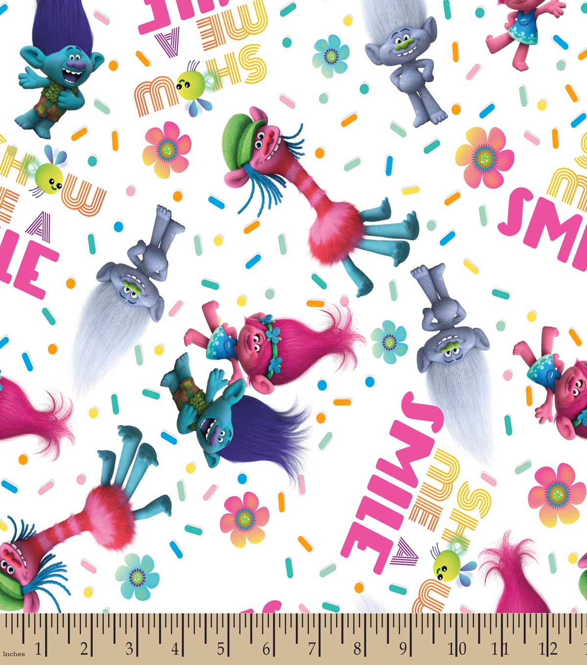 Trolls Show Me A Smile Print Fabric