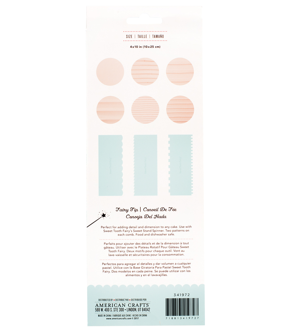 The Sweet Tooth Fairy 3 pk Double-sided Cake Combs