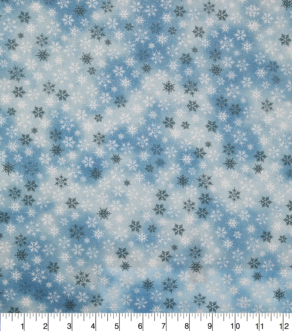 Holiday Cotton Fabric -Blue Glitter Snowflake