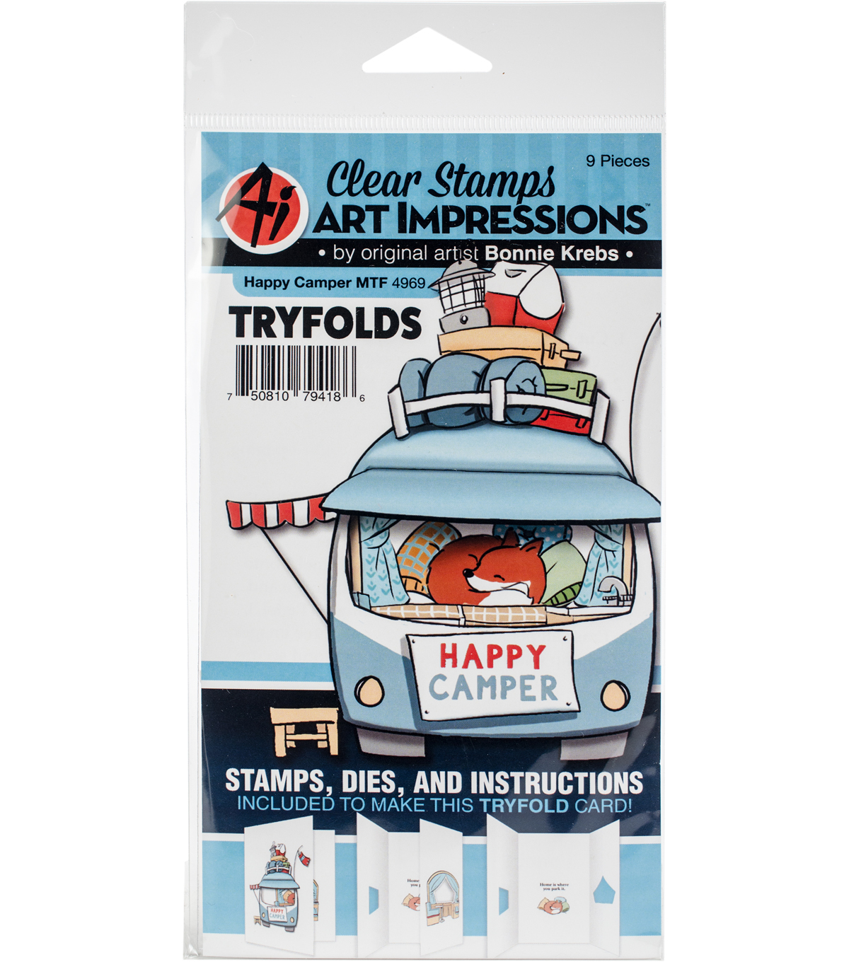Art Impressions Bonnie Krebs Mini TryFolds Stamp & Die Set-Happy Camper