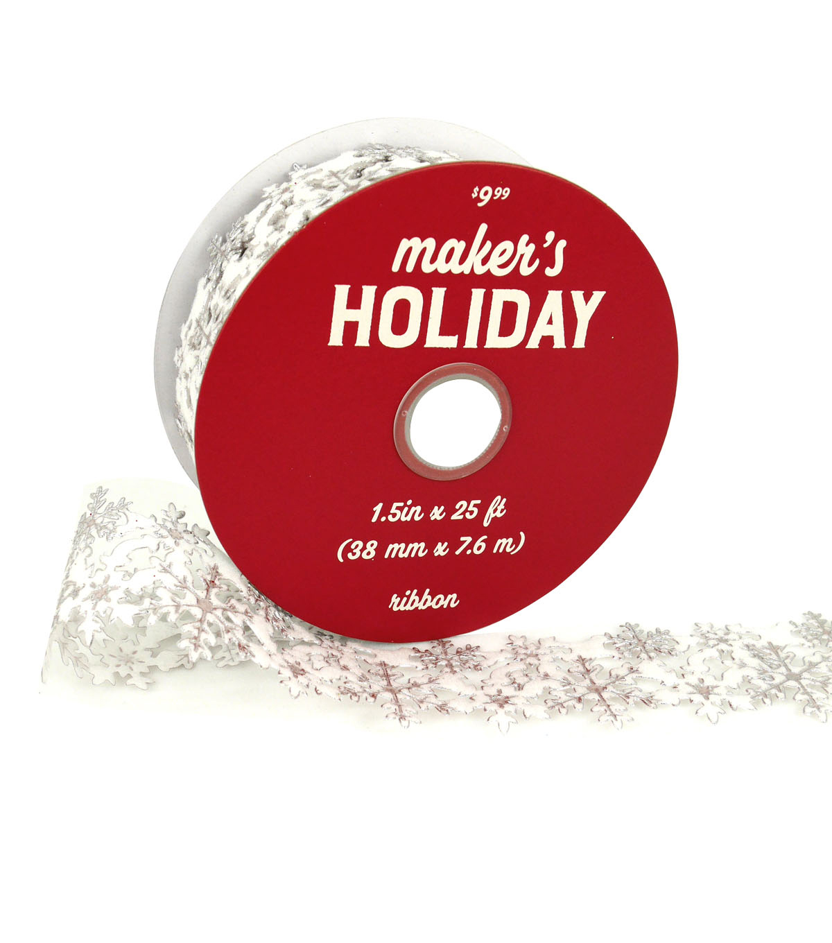 Maker\u0027s Holiday Christmas Laser-cut Snowflakes Ribbon 1.5\u0027\u0027x25\u0027-White