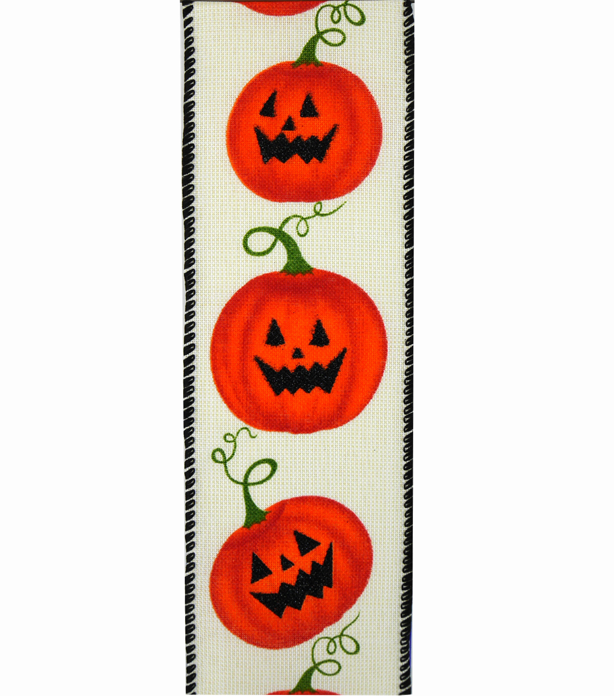 Maker\u0027s Halloween Ribbon 2.5\u0027\u0027x12\u0027-Jack-o\u0027-lanterns on Ivory