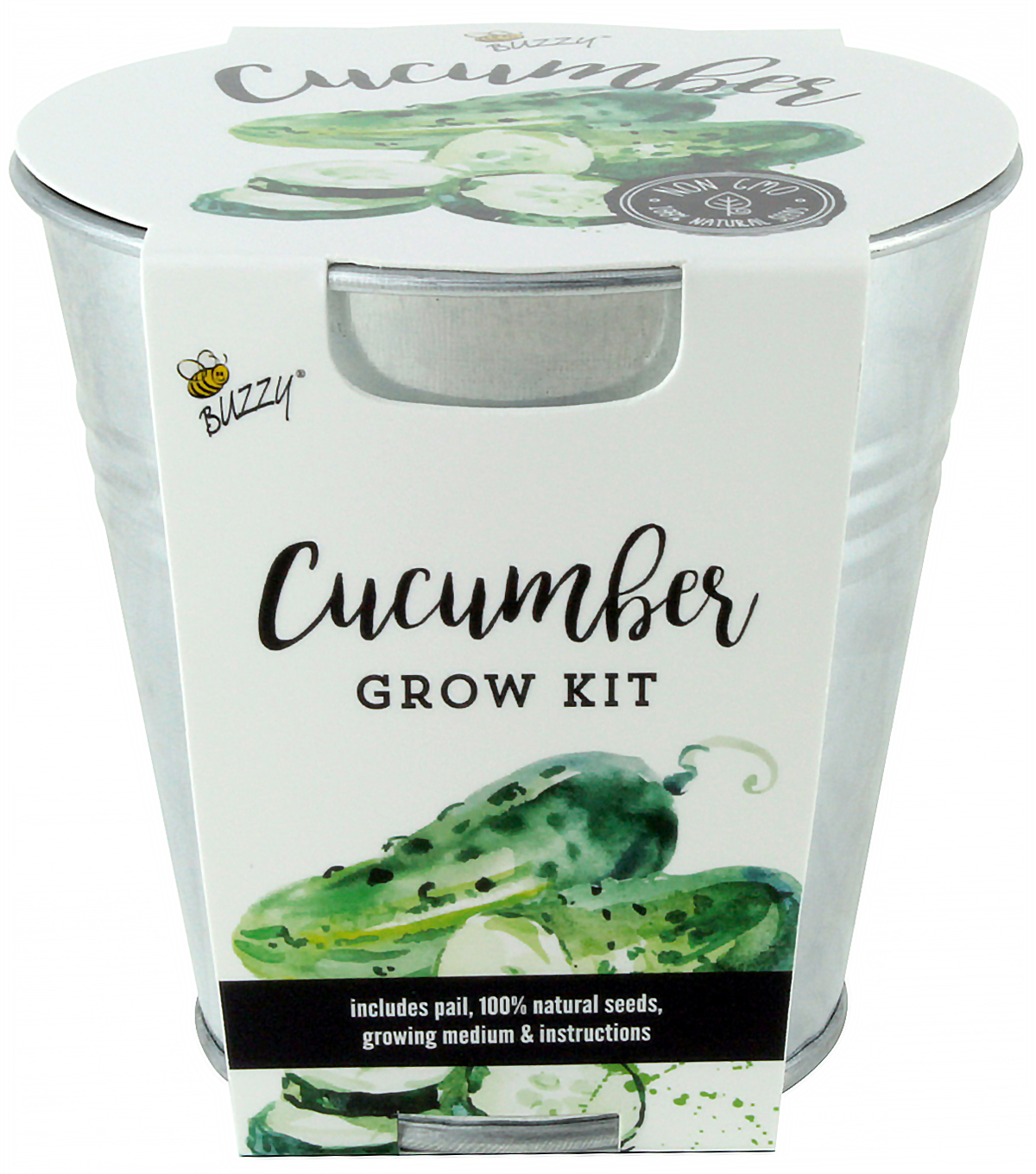 Buzzy Cucumber DIY Grow Kit with Galvanized Metal Pail