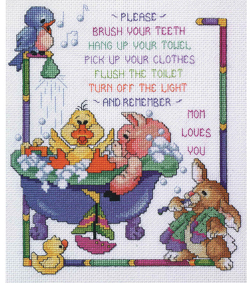 Bath Time Rules Counted Cross Stitch Kit-10\u0022X12\u0022 14 Count