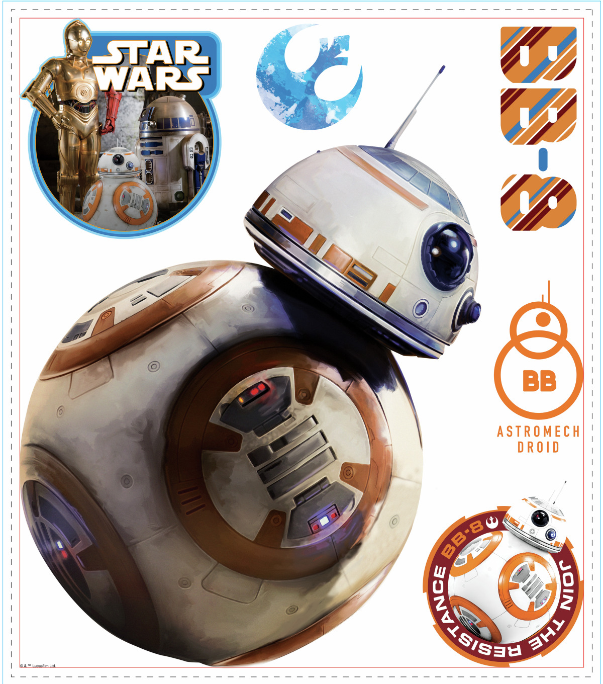 York Wallcoverings Wall Decals-Star Wars Ep VII BB-8