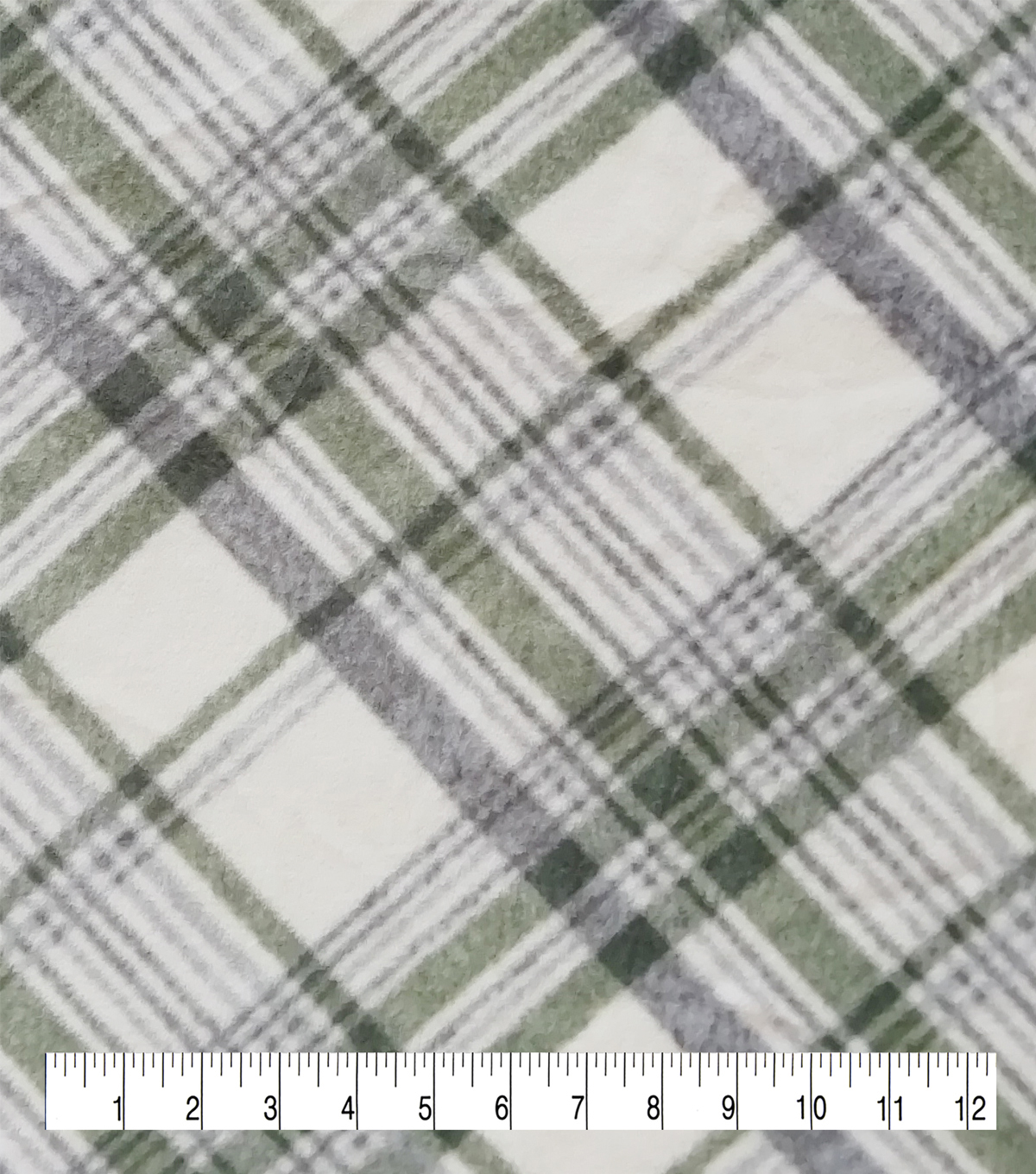 Anti-Pill Plush Fleece Fabric-Lodge Cream Green Plaid