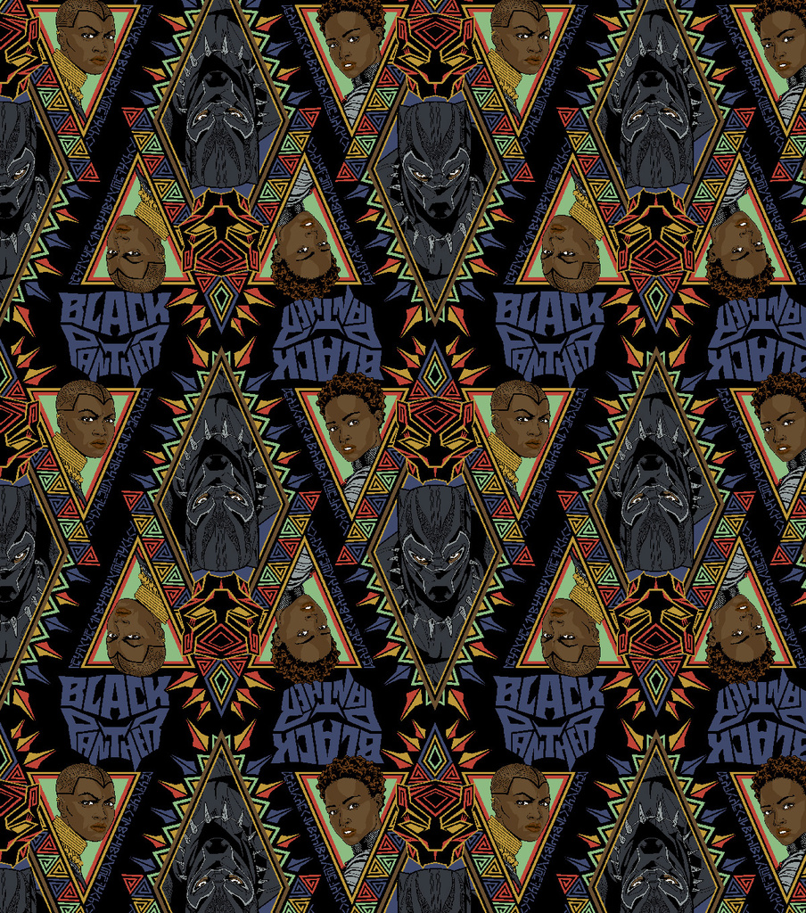 Marvel Black Panther Cotton Fabric 43\u0022-Allover
