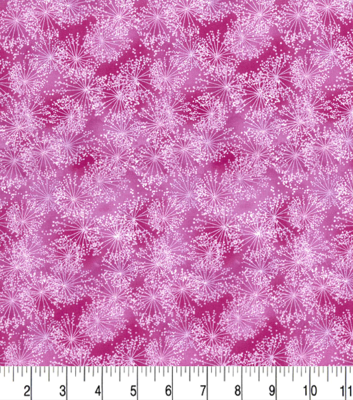 Premium Quilt Cotton Fabric-Dandelions on Dark Pink