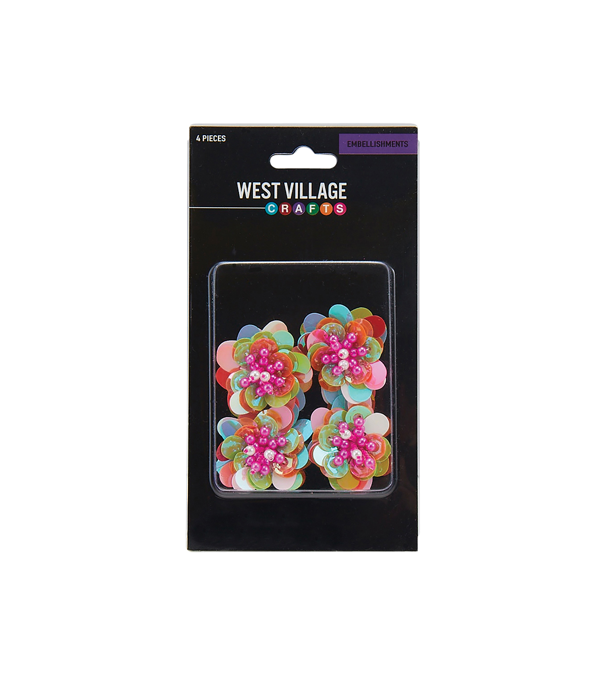 West Village Embellishments-Multi Color Flowers with Jewels