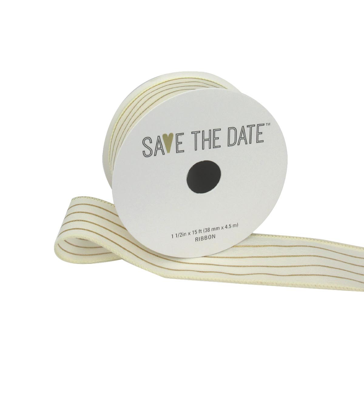 Save the Date 1.5\u0022 x 15ft Ribbon-Ivory Gold Stripe