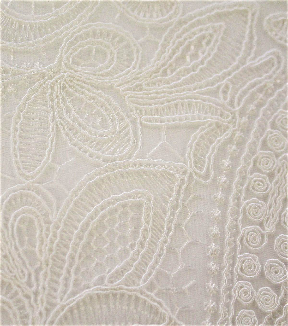 Polyester Embroidered Fabric-Ivory Corded Floral